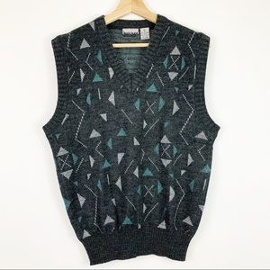 Vintage City Streets Sweater Vest L Geometric Gray